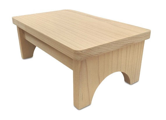 Hollandcraft Unfinished Wood Step Stool Wooden Foot Stool