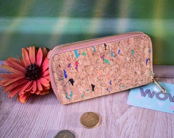 Natural colorful handmade cork coin purse, eco-friendly cork purse, vegan wallet, gift for her, natural gift