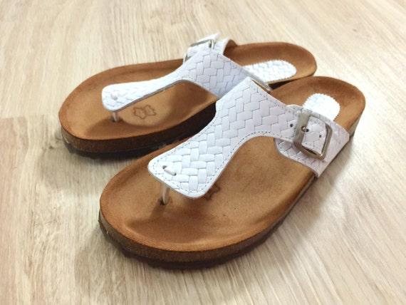 61e8520c9576 White Women Cork and Leather Sandals Cork Sole Platform
