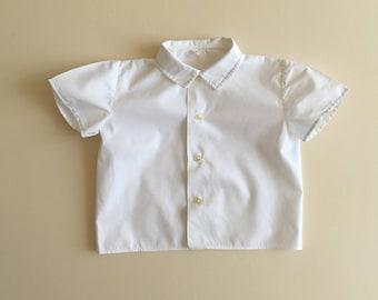 White shirt with blue trim - 2y