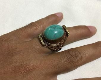 Men's Ring,Turquoise Ring Size10 US,Intaglio Ring,Handcraft Ring,Engrave Ring,Vintage Ring,Brass Ring,Afghan Ring,Flower Ring,Animal Ring
