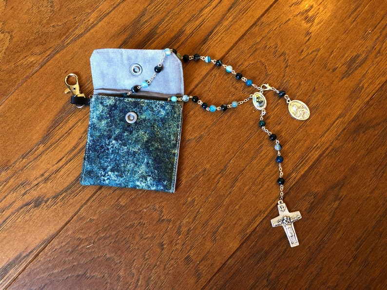 Rosary pouch Confirmation gift fabric coin purse First Communion gift Rosary case