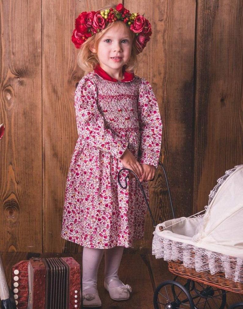 Vestito ai fiori rossi smocked dress