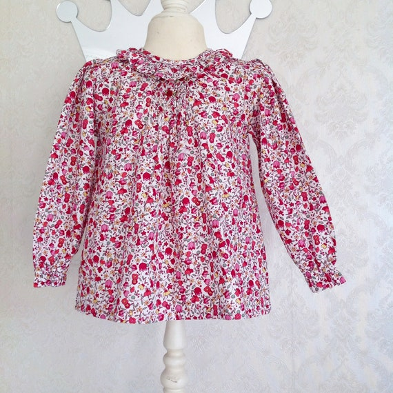 2a24a40794d Red Flower Shirt smocked Dress