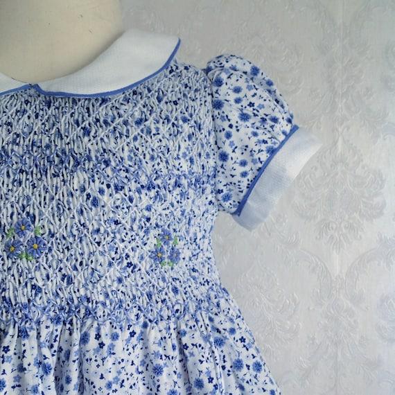 Fiori Liberty.Vestito Ai Fiori Azzurri Smocked Dress Etsy