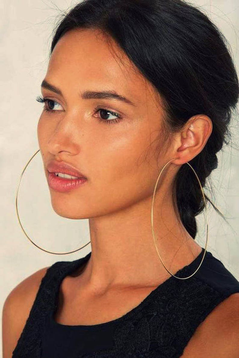 0a11d3db20e31 Extra large silver hoops, African hoop earrings, bohemian silver hoops,  wire silver hoops, tribal hoop earrings, gift for her, birthday gift