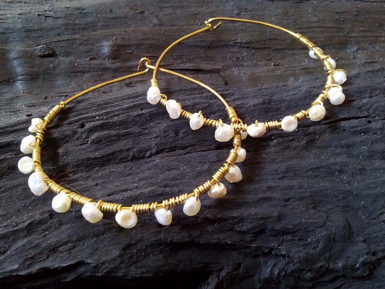 gift for wife brass hoop earrings bridesmaid earrings bride earrings Fresh water pearls hoop earrings gift for her wire earrings