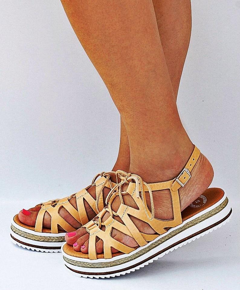 natural beige sandals Gladiator leather sandals lace up sandals strappy leather sandals platform sandals ancient Greek sandals