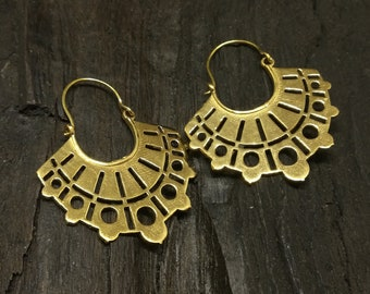 Aztec brass hoops, tribal hoops, ethnic hoops, festival earrings, geometric earrings, gift for her
