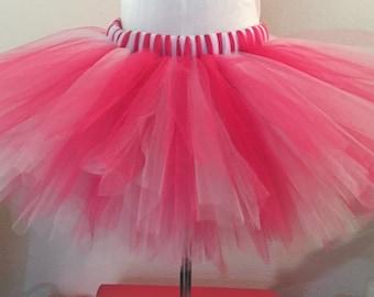 cd67842f1df Red Tutu with white satin ribbon Teen   Adult Tutu Skirt Plus