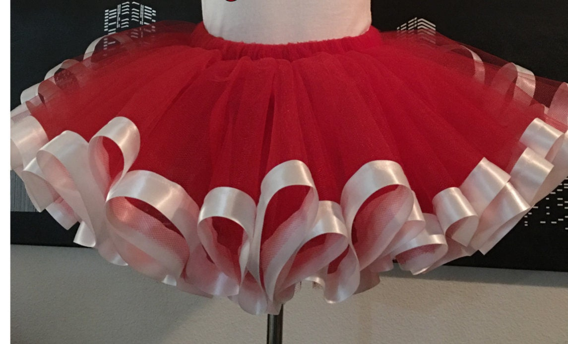 1a35013a372 Red Tutu with white satin ribbon Teen   Adult Tutu Skirt