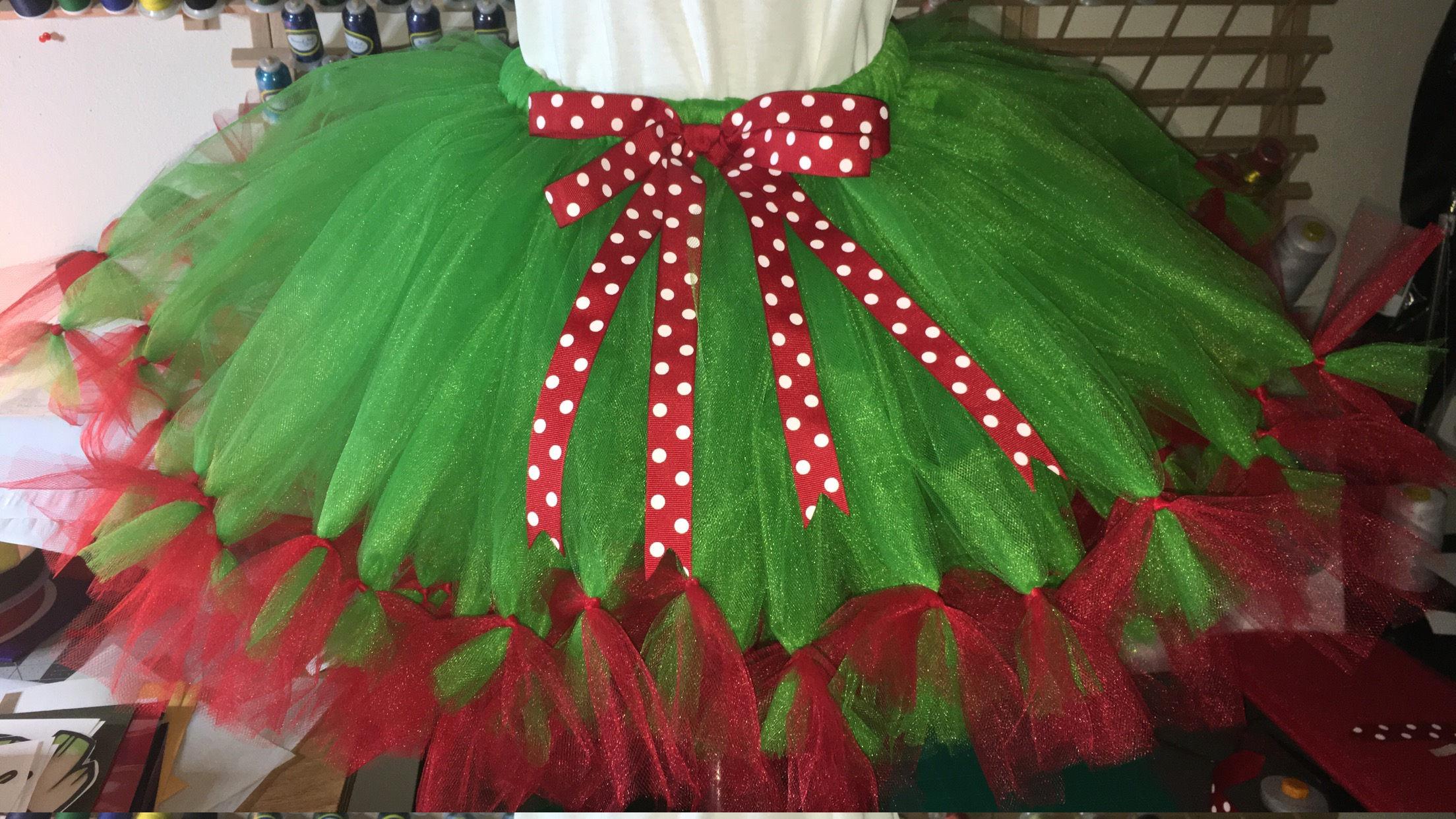 81ba5b2420f9e Red and Green Tutu with red white polka dot ribbon Teen   Adult Tutu Skirt