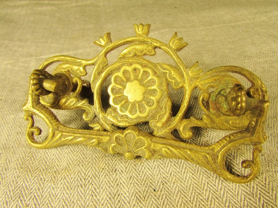 One Outstanding Antique Eastlake Drawer Pull with Birds and Flowers Restored!