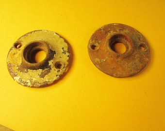 PAIR of Old Doorknob Plates Shabby Antique Vintage Cast Iron Backplates