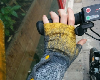 Yellow felted mittens Gray fingerless gloves Fingerless mittens Wool hand warmers Yellow Cuffs