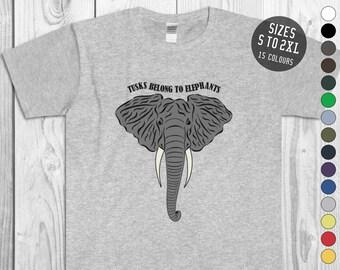 ba75847c5edf Tusks Belong to Elephants Unisex Tee Save the Elephants Earth Day Elephant  Wildlife tshirt Elephant Conservation Shirt African Elephant Tee