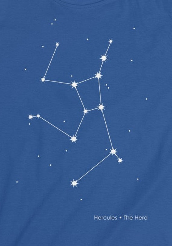 Hercules Constellation Fitted Shirt Roman Mythology Constellation Greek Hero Tshirt Star Constellation Space Shirt Nerd Gift Idea Heracles