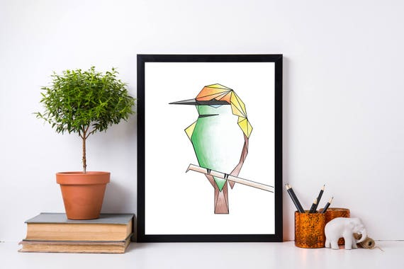 Geometric Bird Print Bee Eater Watercolour Pencil Pen and Ink Wall Art Home Decor Nursery Wildlife Bird Watching Children's Room Watercolor