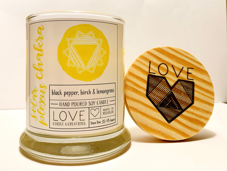 Solar Plexus Chakra Candle 4oz    Lemongrass  Crystal Candle