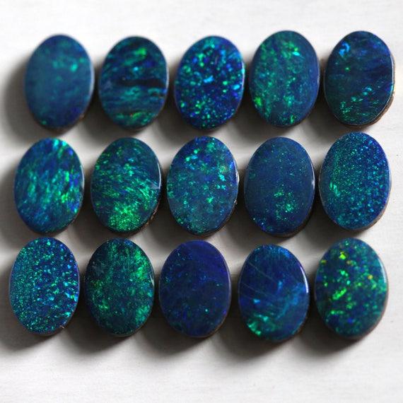 Australian Doublet Opal design cabochon 12x7mm