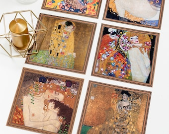 Danae table placemat set of 6   Gustav Klimt Fabric mats   Table decor runner   Table coaster set   Kiss, Adele, Mother and Child