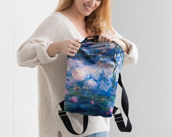 Velour backpack for woman   Backpack with Claude Monet art print   Poppy Field and Water Lilies   Leisure backpack   Art lover gift