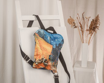 Backpack with van Gogh art print   Starry Night at Rhone, Cafe Terrace Night   Leisure backpack   Velour backpack for woman   Art lover gift
