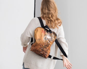 Backpack with Gustav Klimt art print   Kiss, Woman in Gold   Leisure backpack   Velour backpack for woman   Art lover gift