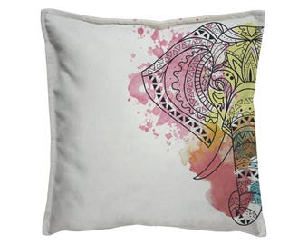 Elephant pillow, Printed pillow, yoga teacher gift, Sofa pillow, elephant cushion, Throw Pillow, Decorative Pillow, Joga pillow, Watercolor