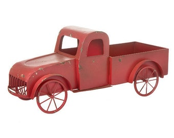 red truck decor vintage truck old fashioned truck primitive truck rustic truck weathered truck metal truck planter christmas decor