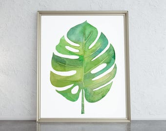 Botanical Art Plant Print Botanical Print Leaf Print Tropical Leaf Print Leaf Wall Art Tropical Plants Botanical Poster Monstera Leaf Print