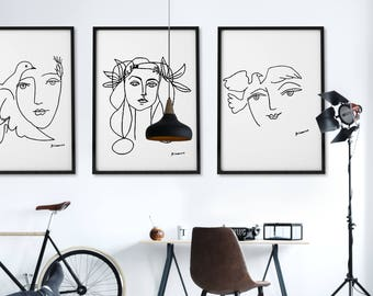 Picasso Black And White Prints Picasso Print Set Of 3 Posters Modern Art Minimalist Black And White Print Picaso Line Drawing Picasso Sketch