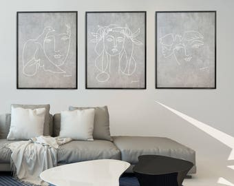 Grey Wall Art Prints Gray And White Art Prints Abstract Print Grey And White Wall Art Abstract Art Abstract Set Of 3 Prints Picasso Print