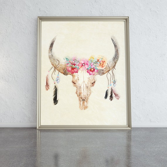 Wall Art Prints Watercolour Print Cow Skull With Flowers Watercolor Print Bull Skull Wall Decor Watercolour Painting Cow Skull Wall Art