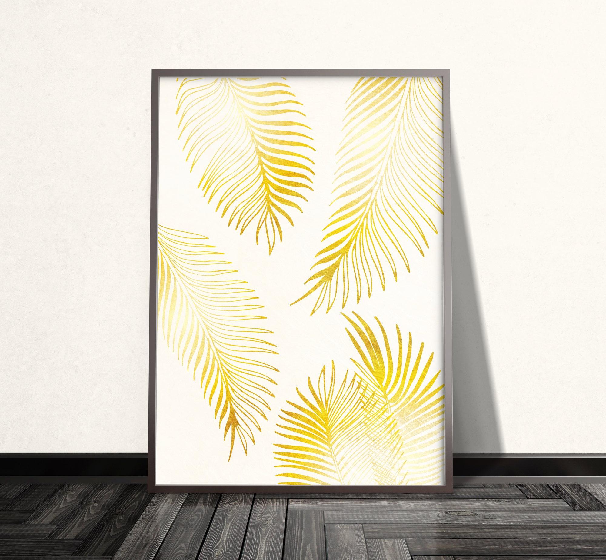Gold Palm Leaf Print Gold Palm Leaf Art Gold Wall Art Gold
