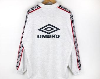Vintage 90s Umbro Half Zipper Sweatshirt Jumper Pullover Umbro Big Logo  Spell Out Streetwear Lolife Sportwear 69fc6f0fe