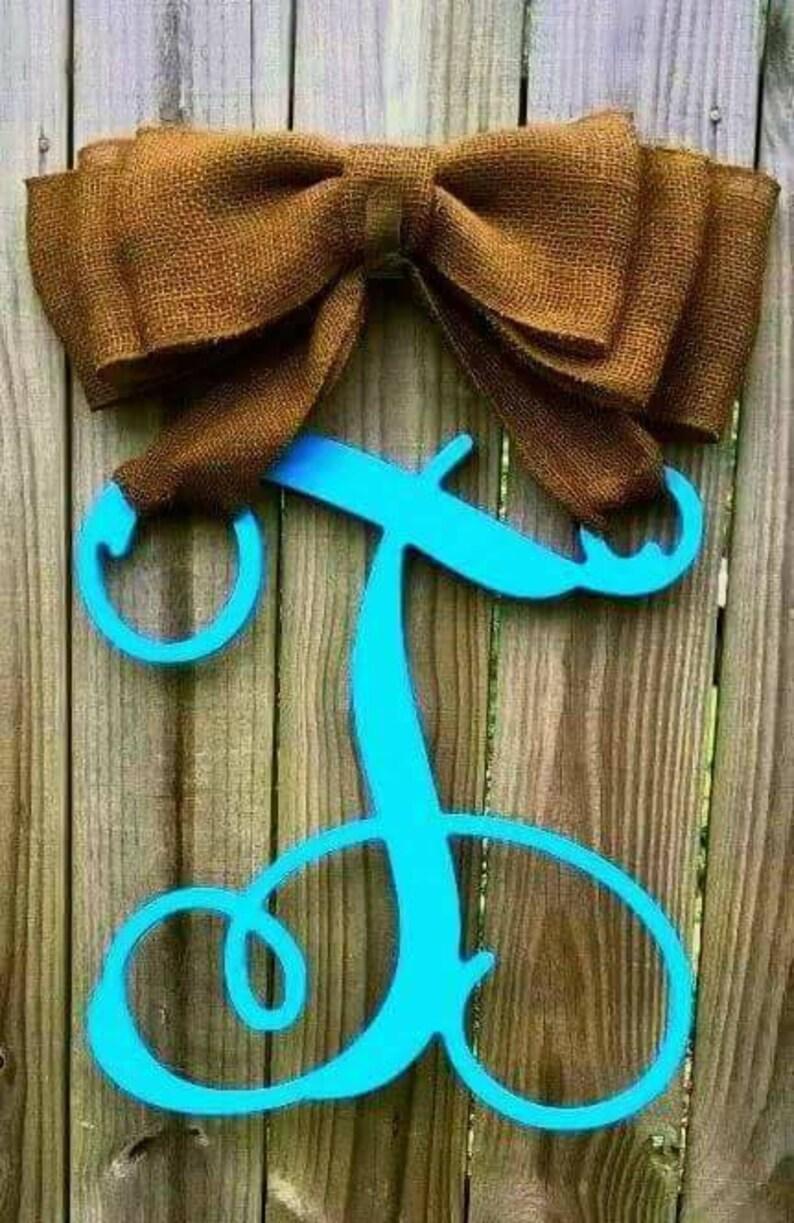 Turquoise Monogram Burlap