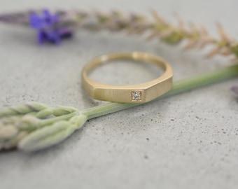 14k gold diamond ring, 14k gold engagement ring, 14k gold asymmetric ring, dainty diamond ring, thin diamond ring, stackable diamond ring