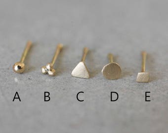 14k Solid Gold Tiny Nose Stud