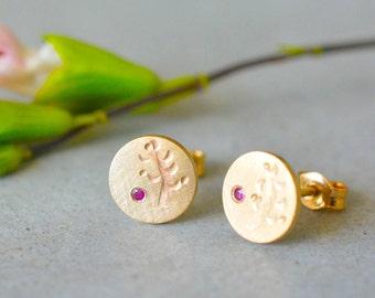 14k solid gold Ruby\Black diamond stud earrings, solid gold stud earrings, yellow gold stud earrings, 14k women stud earrings