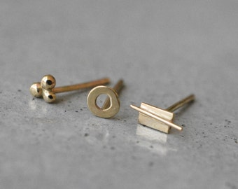Solid 14k Gold Studs, gift for her gold earrings, mix and match earrings,  Studs earrings, 14k gold stud earrings, dainty studs, Studs Tiny