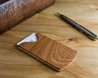 Handmade Wood Business Card Holder Sapele