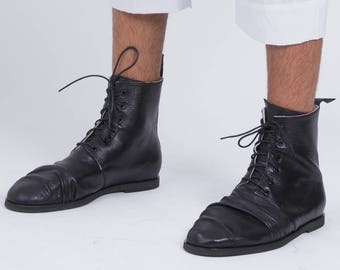 M Hangman Boot in black, lace up boot, military boot, men boot, black leather boots, combat boot, sartorial boots, mens shoes, leather shoes
