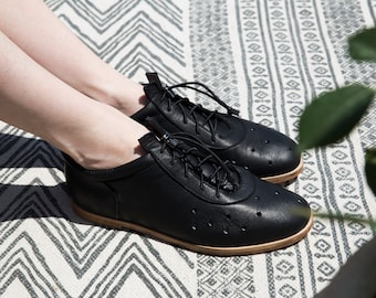 Open toe black leather sandals woman black summer shoes peep toe oxfords for women the Hangman Peep Toe by Sample Line