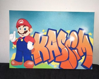 personalized name painting graffiti canvas