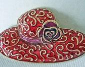 Vintage Liz Claiborne quot Red Hat quot Pin Brooch Fashionable Design