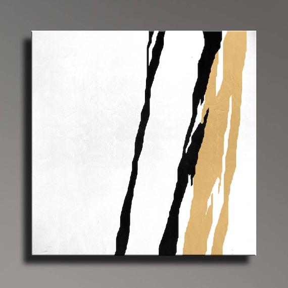 XL tableau abstrait noir or blanc peinture
