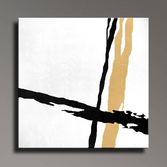 Abstract Painting Black White Gold Canvas Art Large Hand Etsy