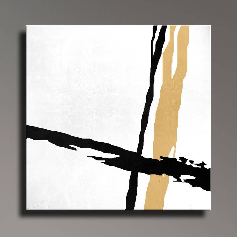 Abstract Painting Black White Gold Canvas Art Large Hand Painted Modern Minimalist Art Wall Decor Home Decor A7m05sq