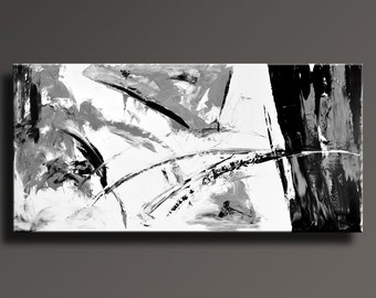 "75"" ABSTRACT PAINTING Black White Gray Painting Extra Large Original Canvas Art Modern Painting Wall Art Home Decor #43WB"